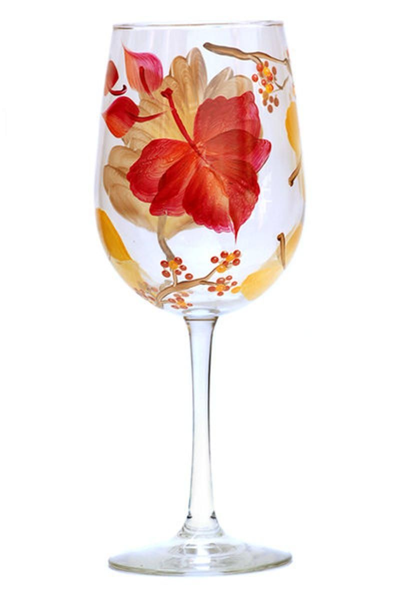 Wine Glass Autumn Leaves Hand Painted Etsy In 2020 Painted Wine Glass Autumn Leaves Painting Glassware