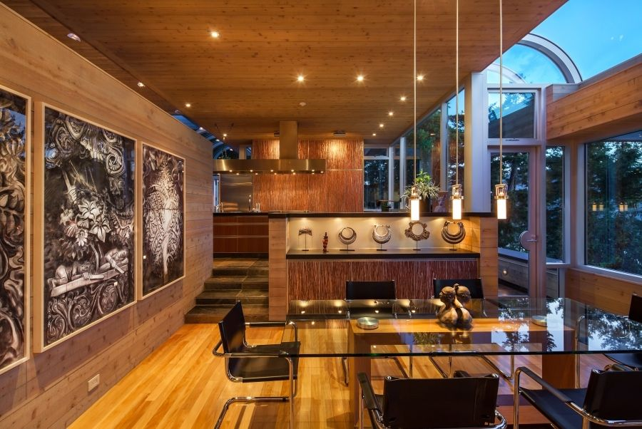 Architecture Captivating Modern Pendant Lighting In Cozy Dining Room Design Ideas For Saanich House As