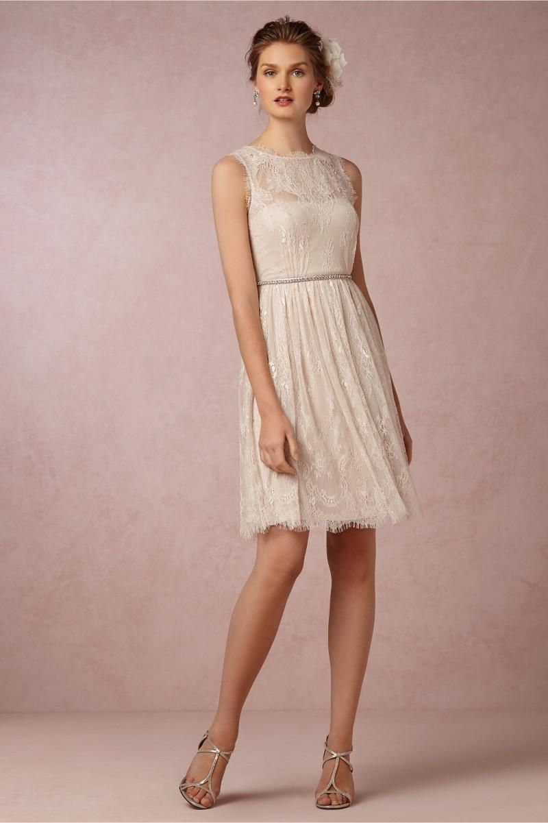Best selling 2014 bridesmaid dresses vintage sheer high for Champagne lace short wedding dress