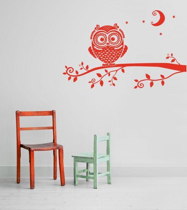 muursticker uil op tak-muurstickers-muursticker-3d letters, Deco ideeën
