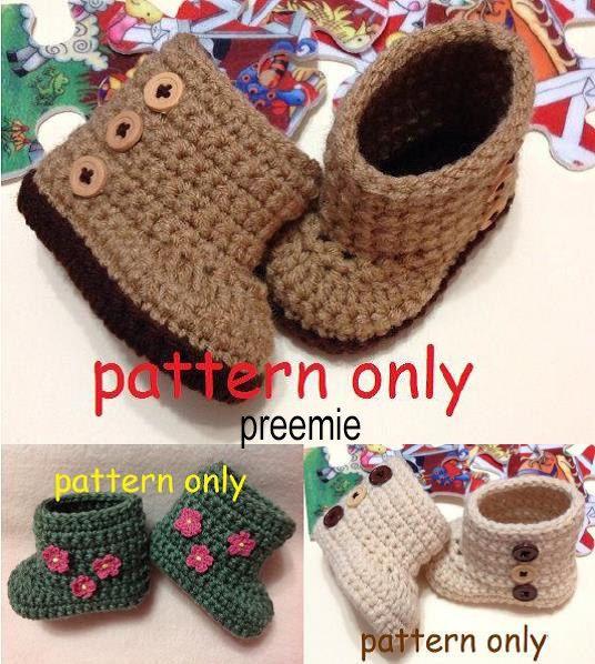 Preemie Crochet Pattern, Crochet Baby Boots, Booties Pattern ...