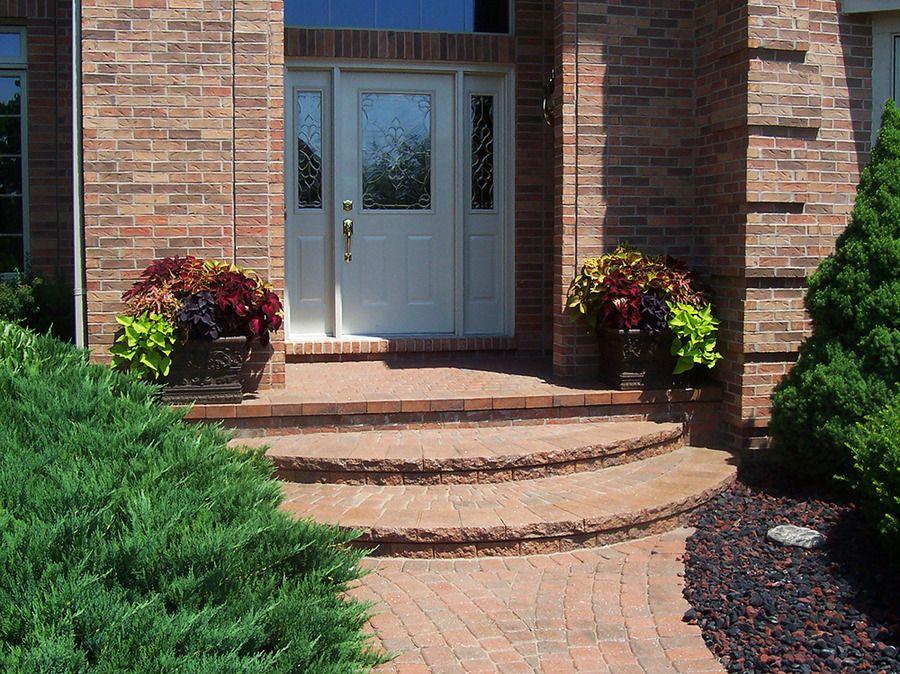 Brick Entrance Entrance, Brick, Lawn and landscape