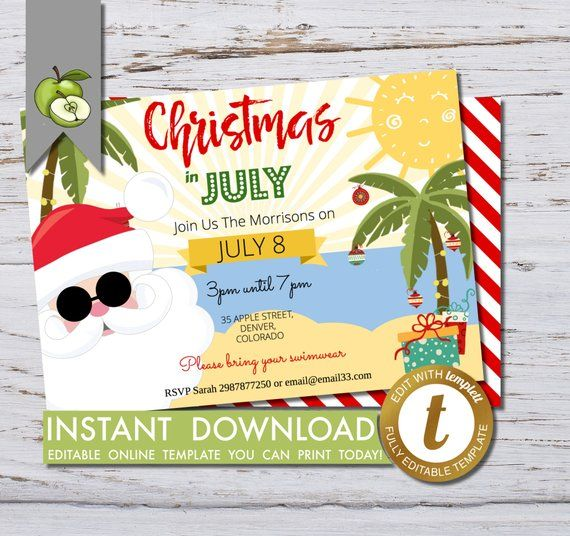 Christmas in July party Invitation, calling beach lovers ...