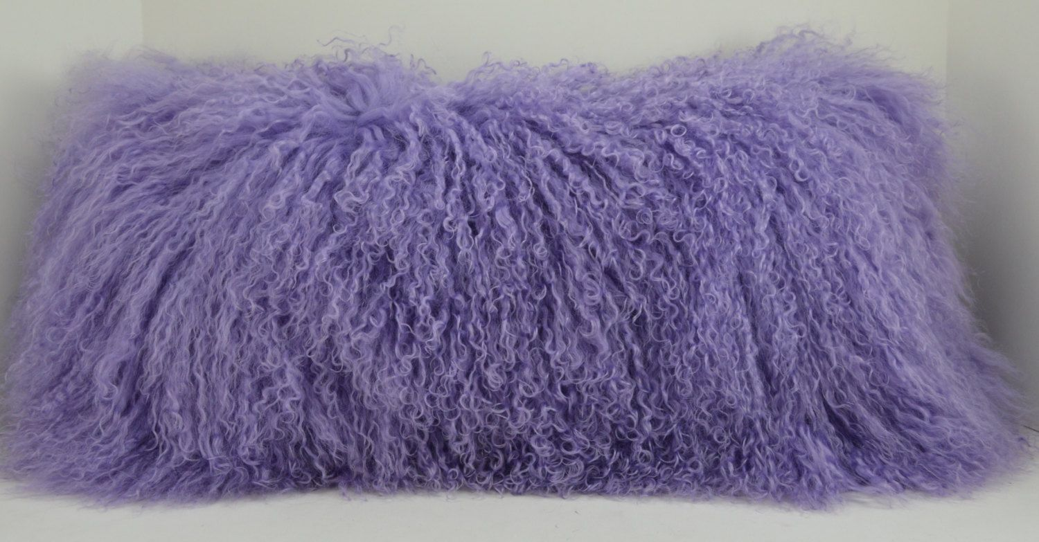 Real Genuine Lavender Mongolian Lamb fur Lumbar lilac  Pillow  new usa made authentic tibet sheepskin fur cushion insert included by furz11 on Etsy https://www.etsy.com/listing/206563720/real-genuine-lavender-mongolian-lamb-fur