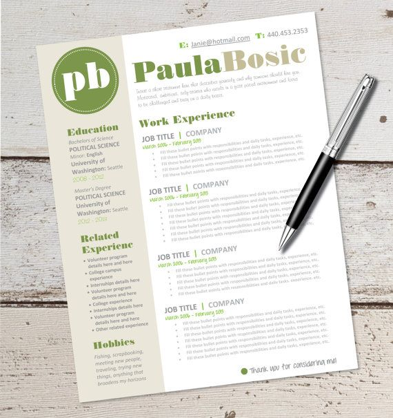 INSTANT DOWNLOAD - Resume Design Template - Microsoft Word - download resume templates for microsoft word