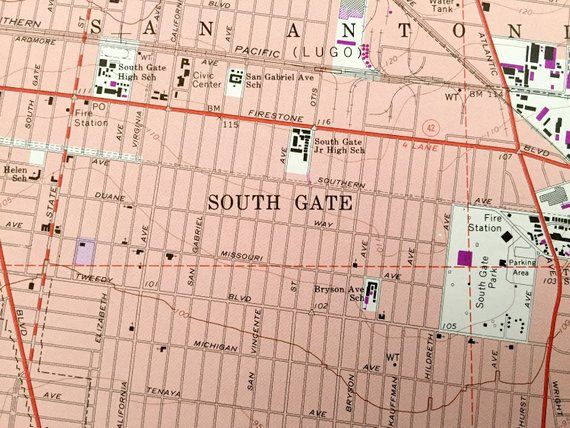 Antique South Gate California 1964 Us Geological Survey Topographic