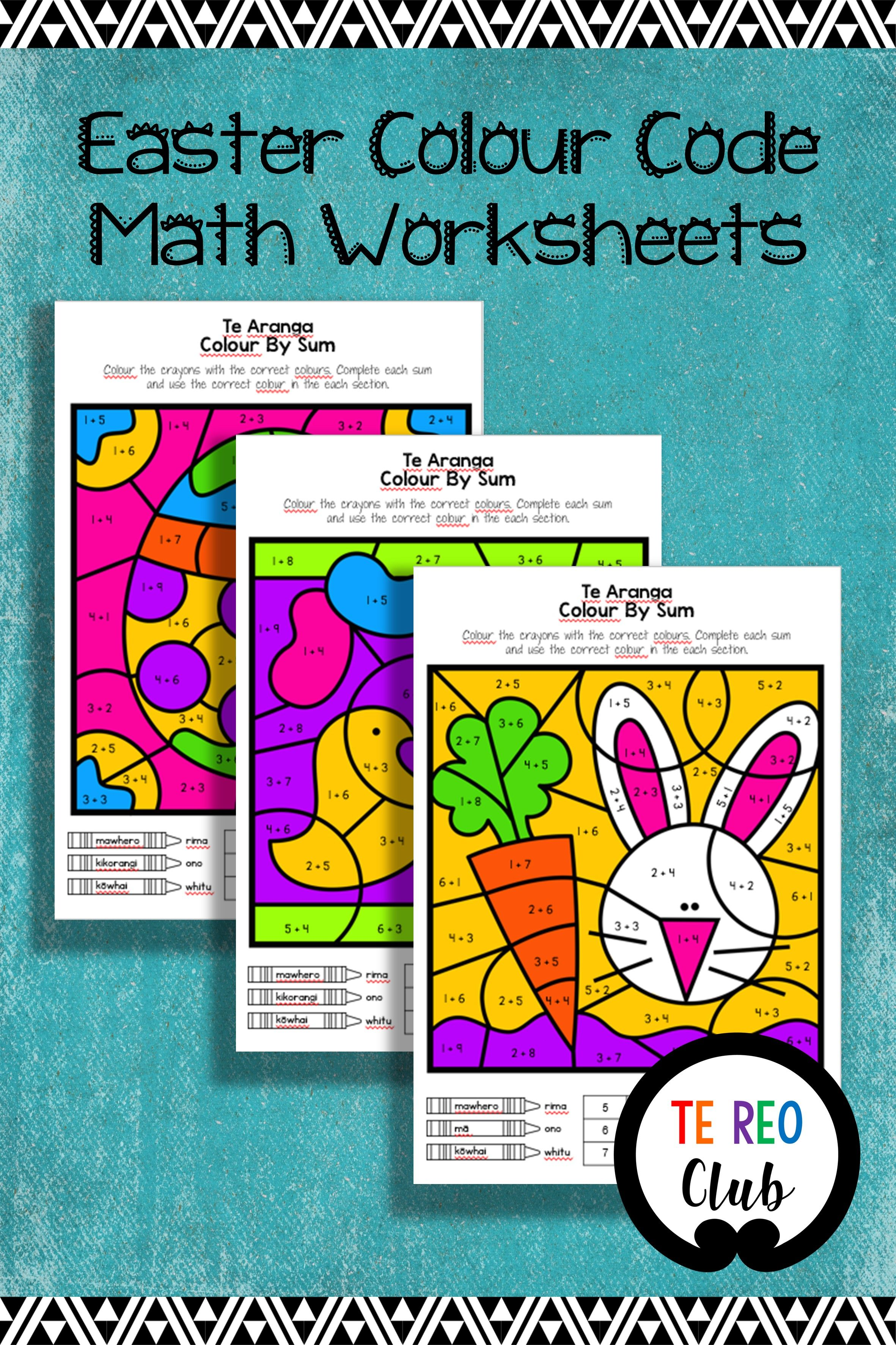Easter Colour Code Math Worksheets In