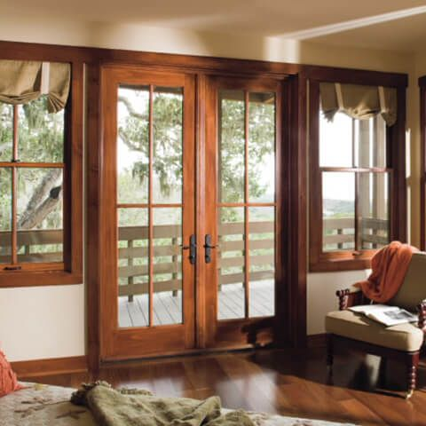 I Love The Look Of These French Doors The Dark Trimmed Wood Next To