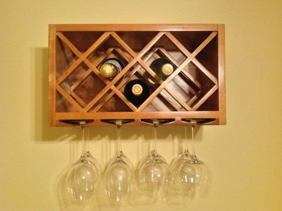 Wall Wine Rack and Glass Holder - Custom Made - Custom Sizes ...