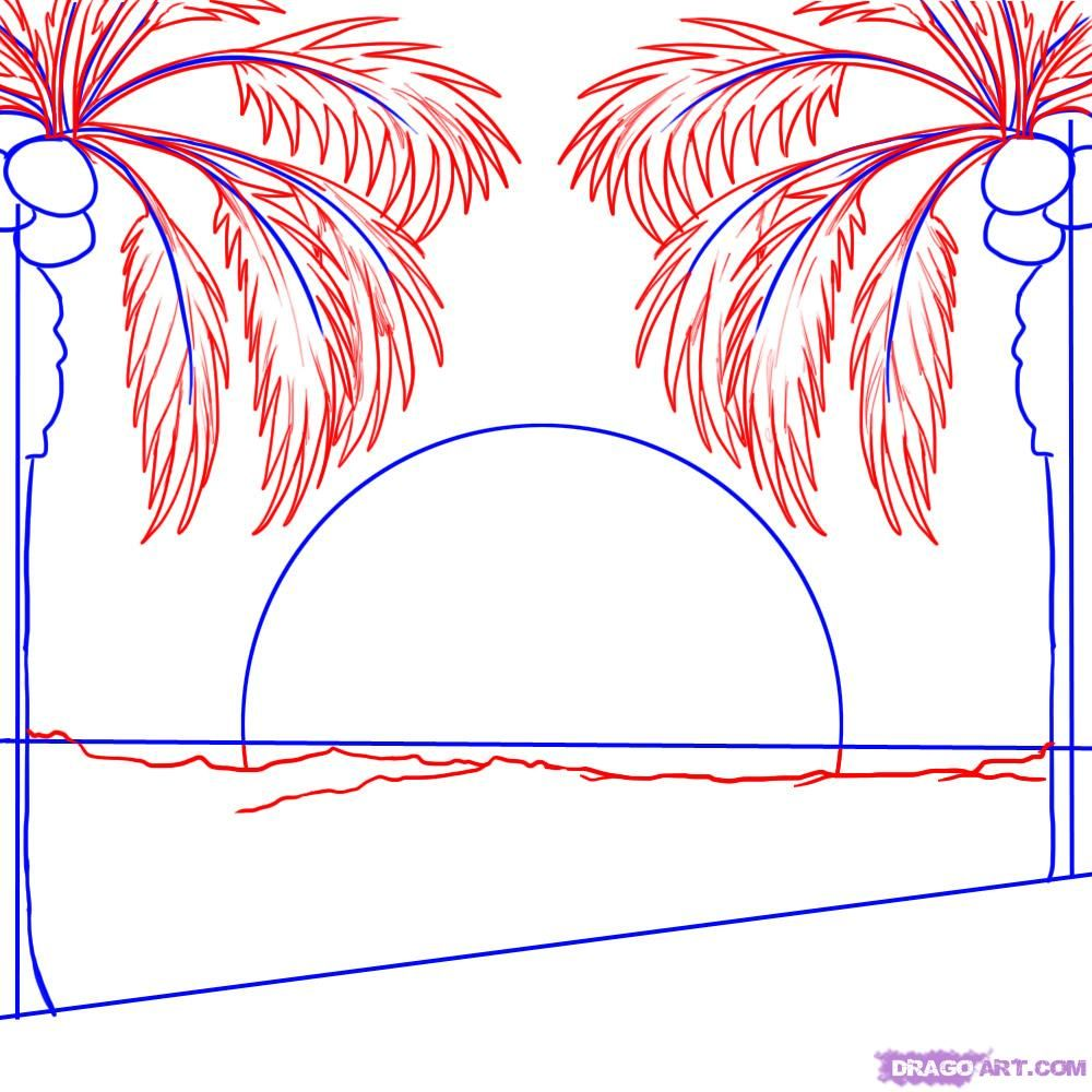 Uncategorized How To Draw A Palm Tree Step By Step how to draw a sunset step 3 palme pinterest drawings 3
