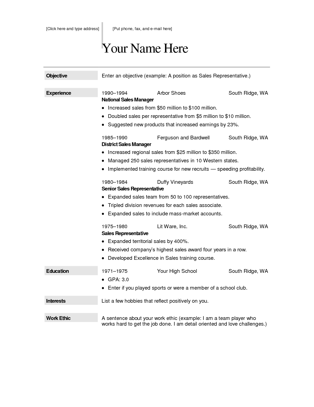 Free Resume Templates For Word Download – Resume Format Template Free Download