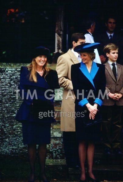 Sarah and Diana on Christmas Day, 1988