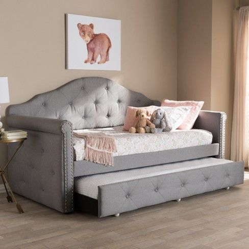 Baxton Studio Emilie Modern and Contemporary Fabric Upholstered Daybed with Trundle Gray images