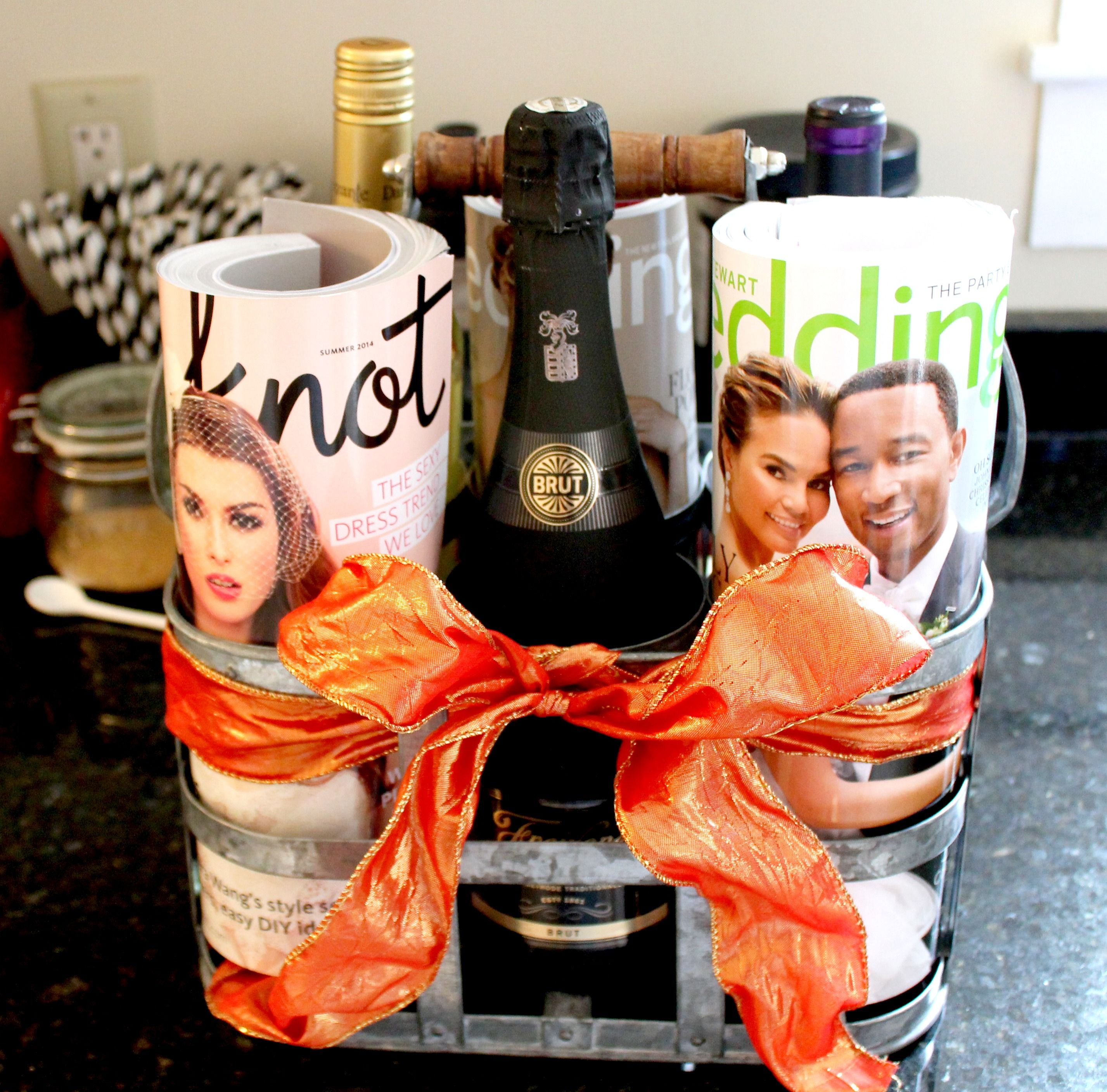 Cute bridal gift ideas! Combine bridal magazines and a