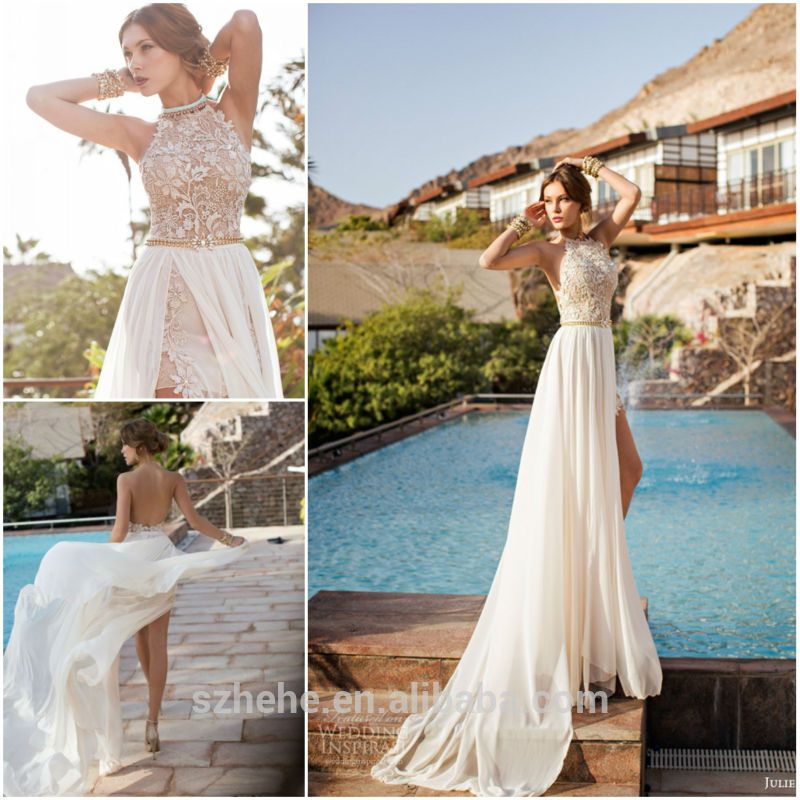 White Chiffon Front Silt Casual Style Backless Halter Top: New Arrival CW2224 Fashionable 2014 Summer Casual Backless