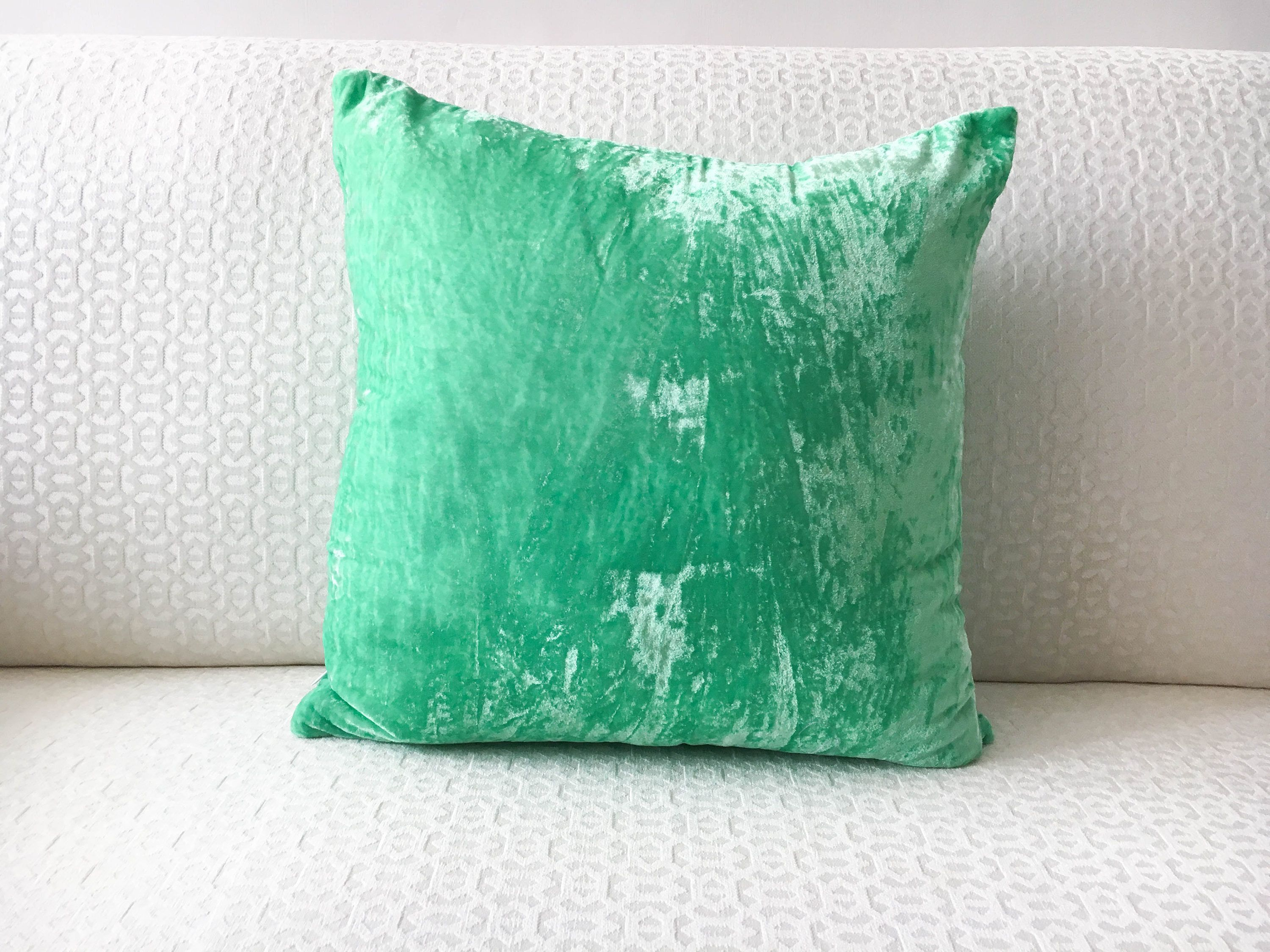 Mint Green Velvet Pillow Cover 15x15 throw pillow cover 15x15 ...