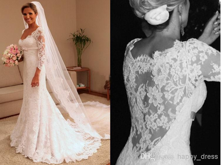 Wholesale A Line Wedding Dresses - Buy New Style Celebrity Sexy Women A Line Wedding Dresses 3/4Long Sleeve Lace V-Neck Formal Party Gowns Plus Size Mother of the Bride Dress, $147.23 | DHgate