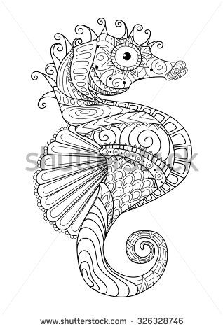 Hand drawn sea horse zentangle style for coloring page,t shirt ...