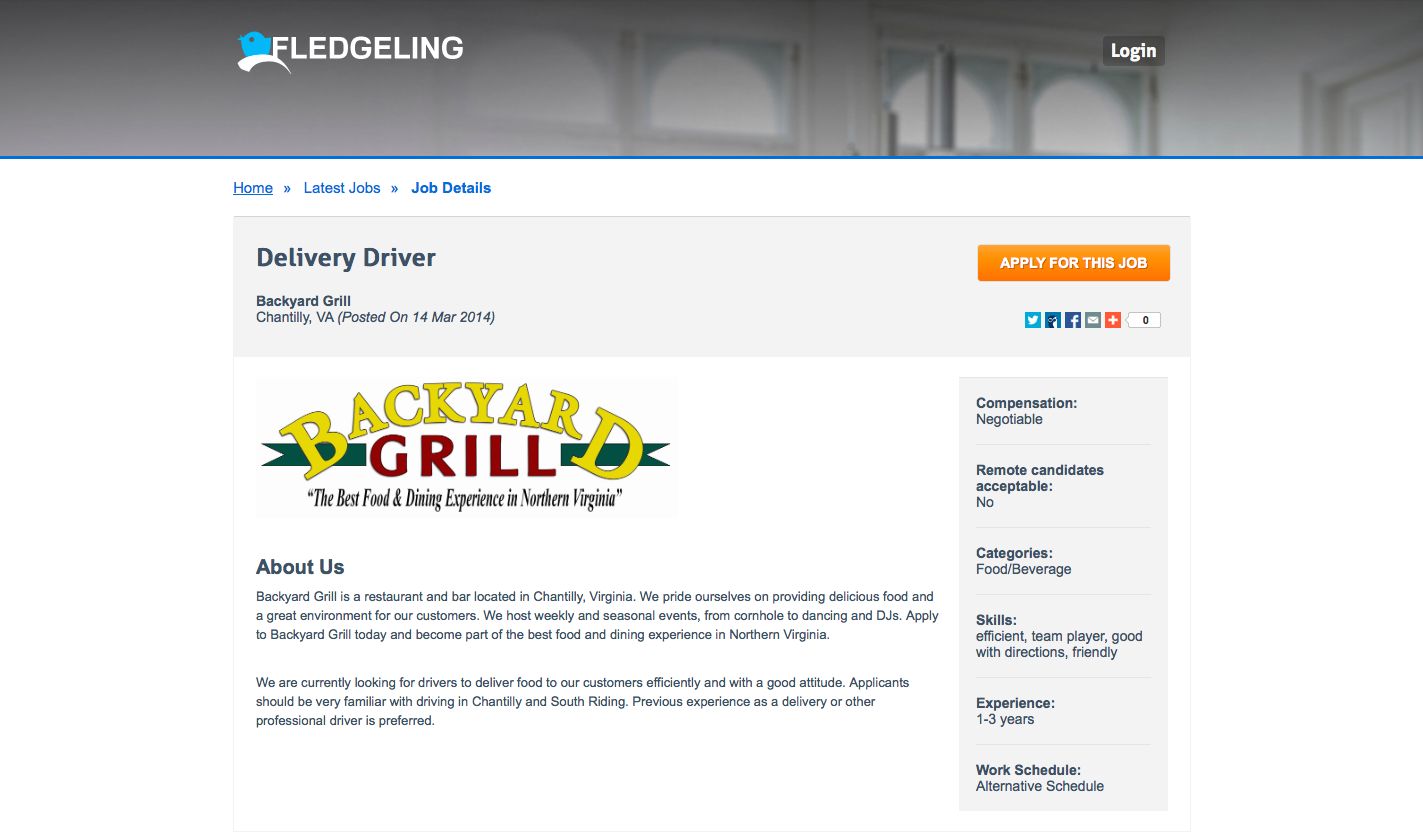 Backyard Grill wants YOU as a Delivery Driver. 1-3 years ...