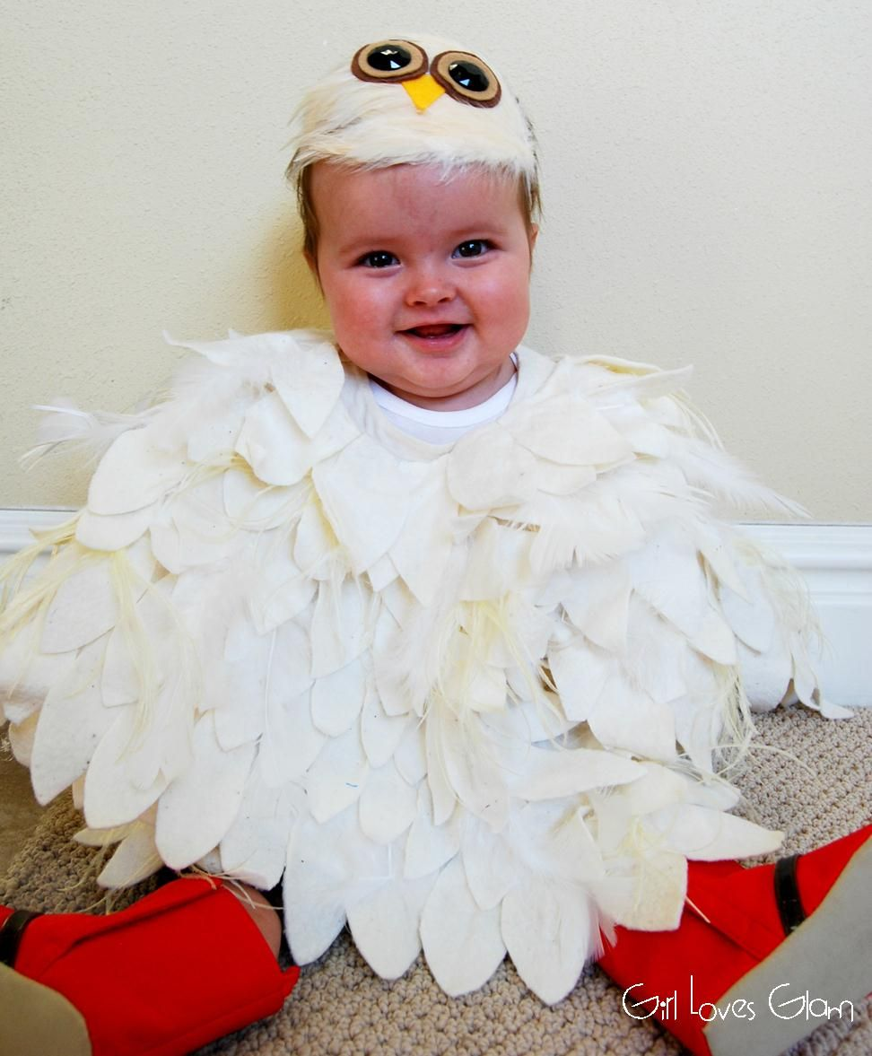 What a cute Halloween Costume. No Sew Baby Owl Costume   Girl Loves Glam #halloween #diy #tutorial #hedwig