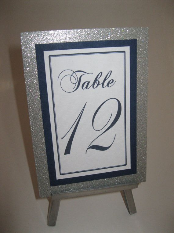 Silver Glitter & Navy Blue Wedding Table by WeddingSparkles, $60.00
