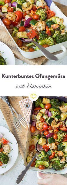 In nur 20 Minuten fertig: Kunterbuntes Ofengemüse mit Hähnchen - Fitness rezepte - #fertig #fitness...