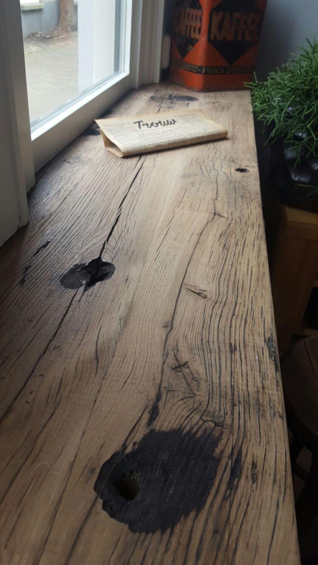 Vensterbank van wagonhout oud eiken ksk steigerhout for Vensterbank decoratie hout