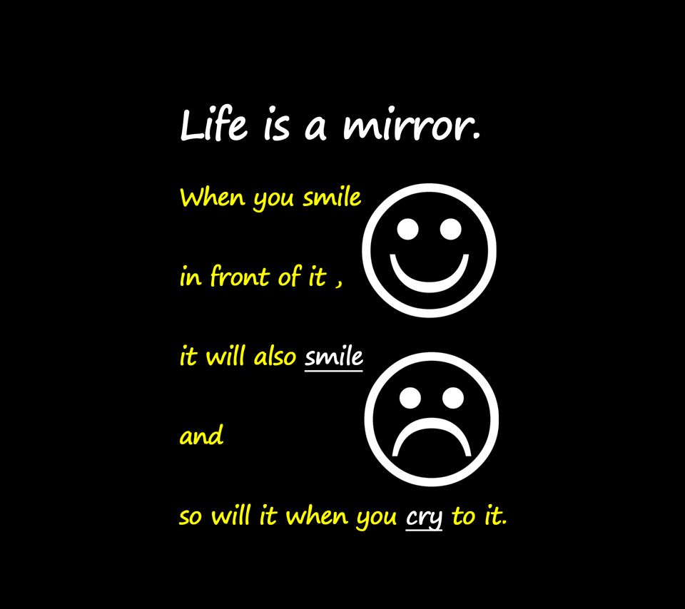 art Quotes life is a mirror quote with emoticons picture in black theme