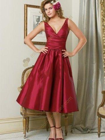 Tea Length Bridesmaid Dresses Red And Black Line V Neck Taffeta Dress