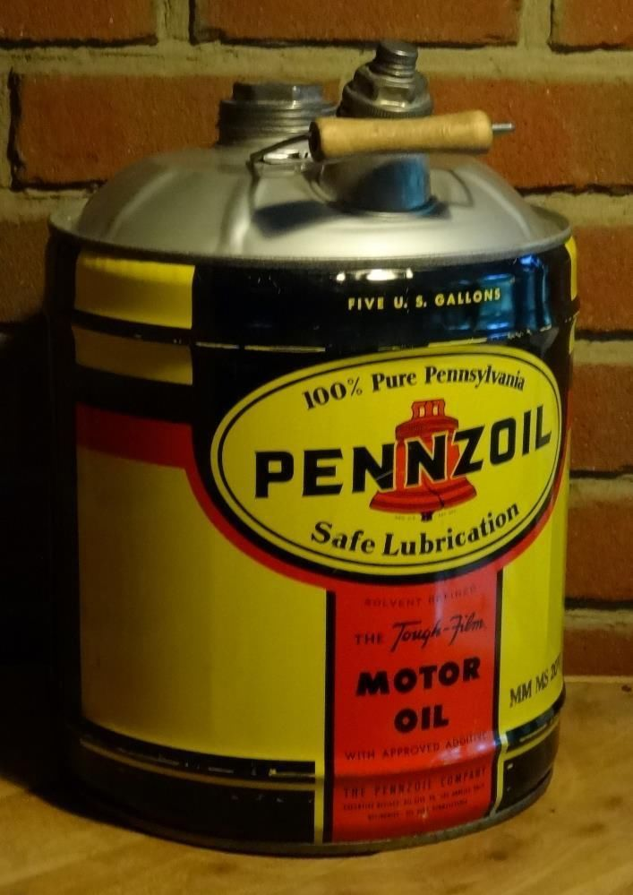 Vintage pennzoil motor oil 5 gallon can very nice for Gallon of motor oil