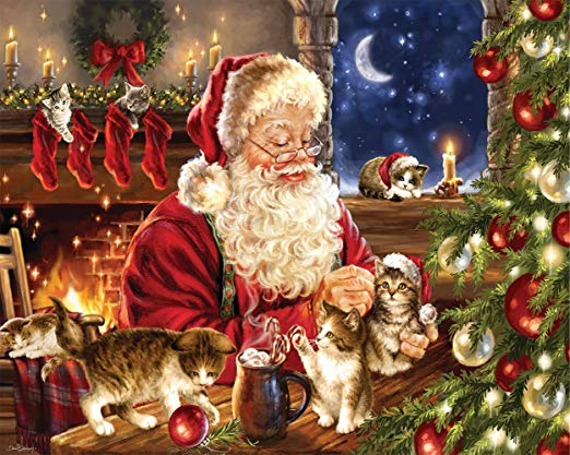 Amazon Com Springbok Puzzles Christmas Kittens 1000 Piece Jigsaw Puzzle Large 30 Inches By 24 I In 2020 Pet Christmas Cards Christmas Kitten Christmas Greetings