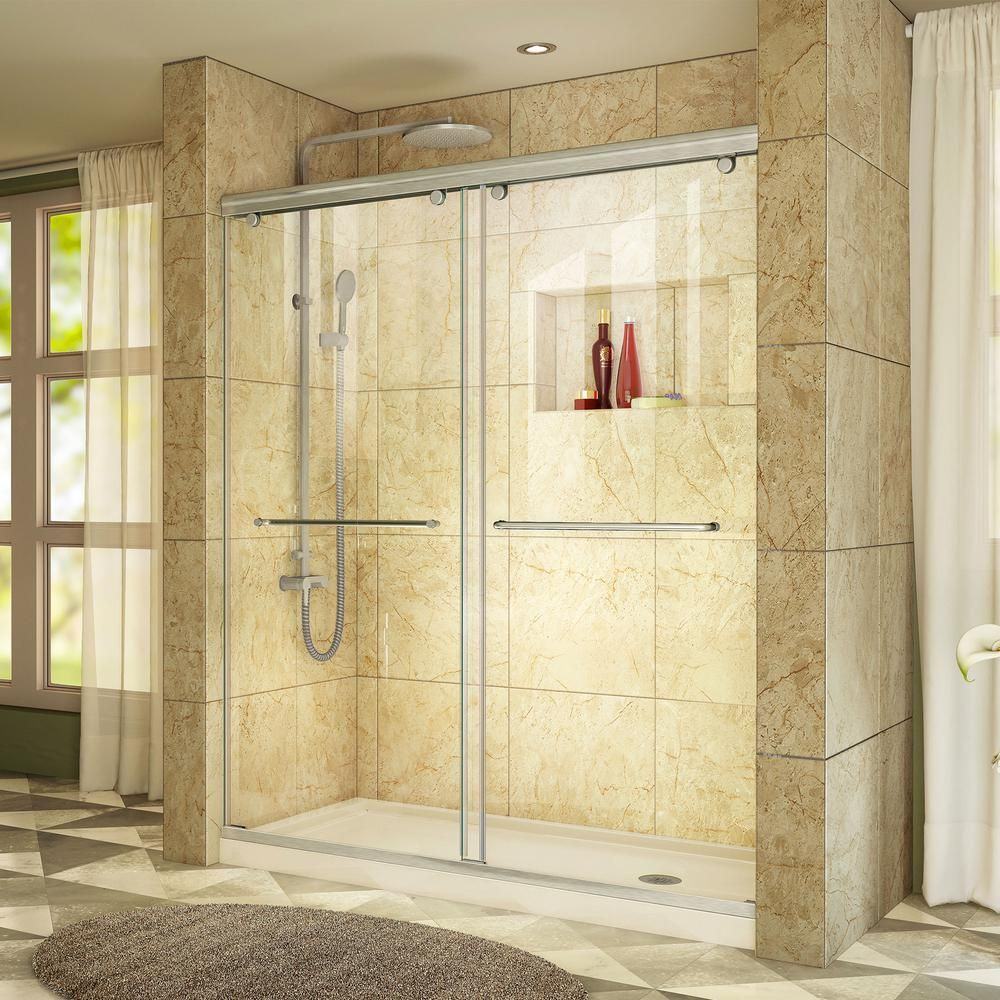 DreamLine Charisma 34 in. x 60 in. x 78.75 in. Semi-Frameless Sliding Shower Door in Brushed Nickel with Center Drain Shower Base, Biscuit #framelessslidingshowerdoors