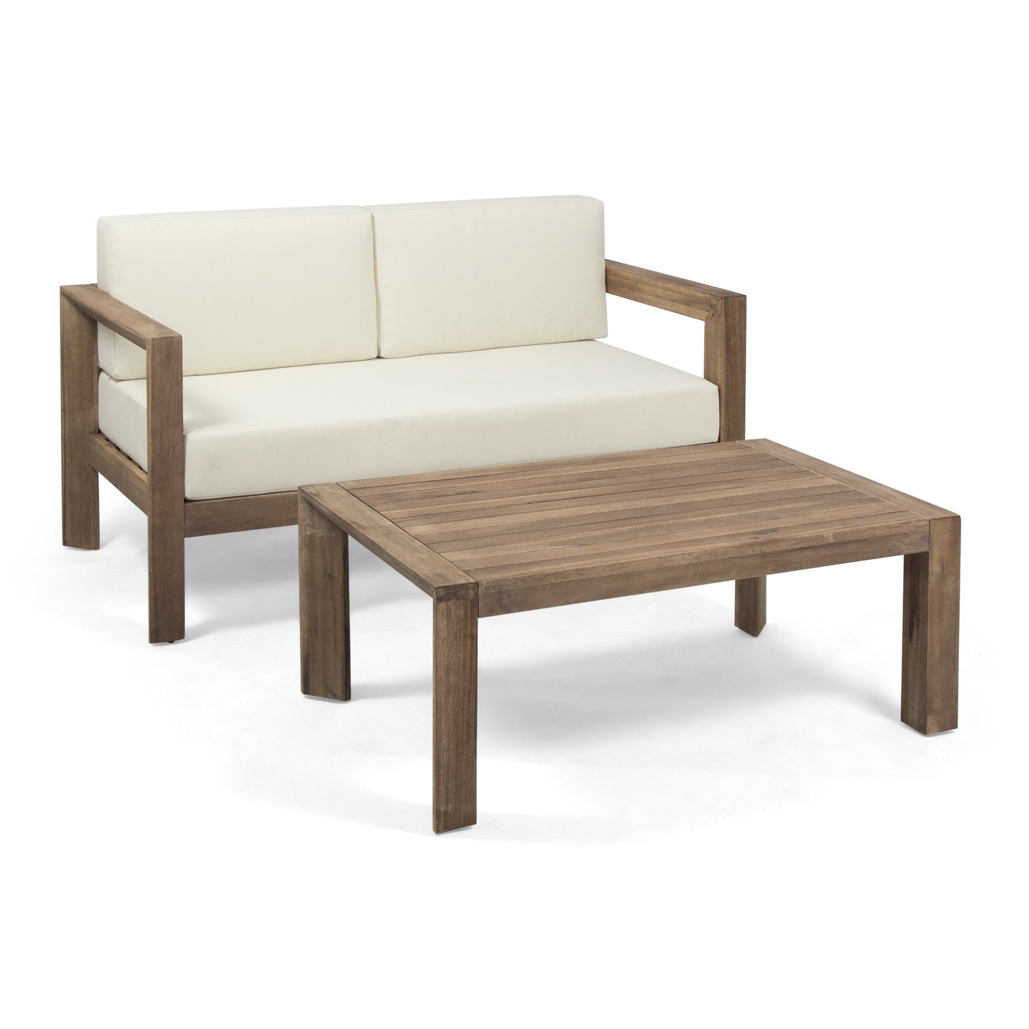 Alfonso Outdoor 2 Seater Wooden Loveseat and Coffee Table