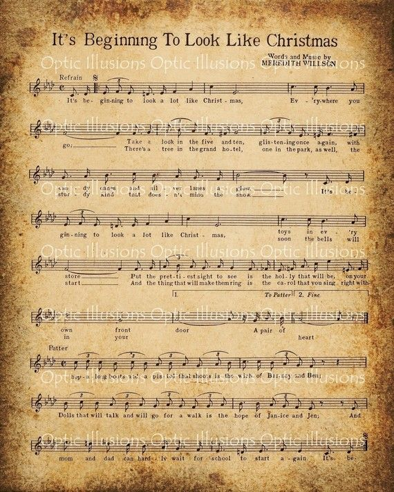 picture about Free Printable Vintage Christmas Sheet Music called opticillusions Xmas Xmas sheet audio