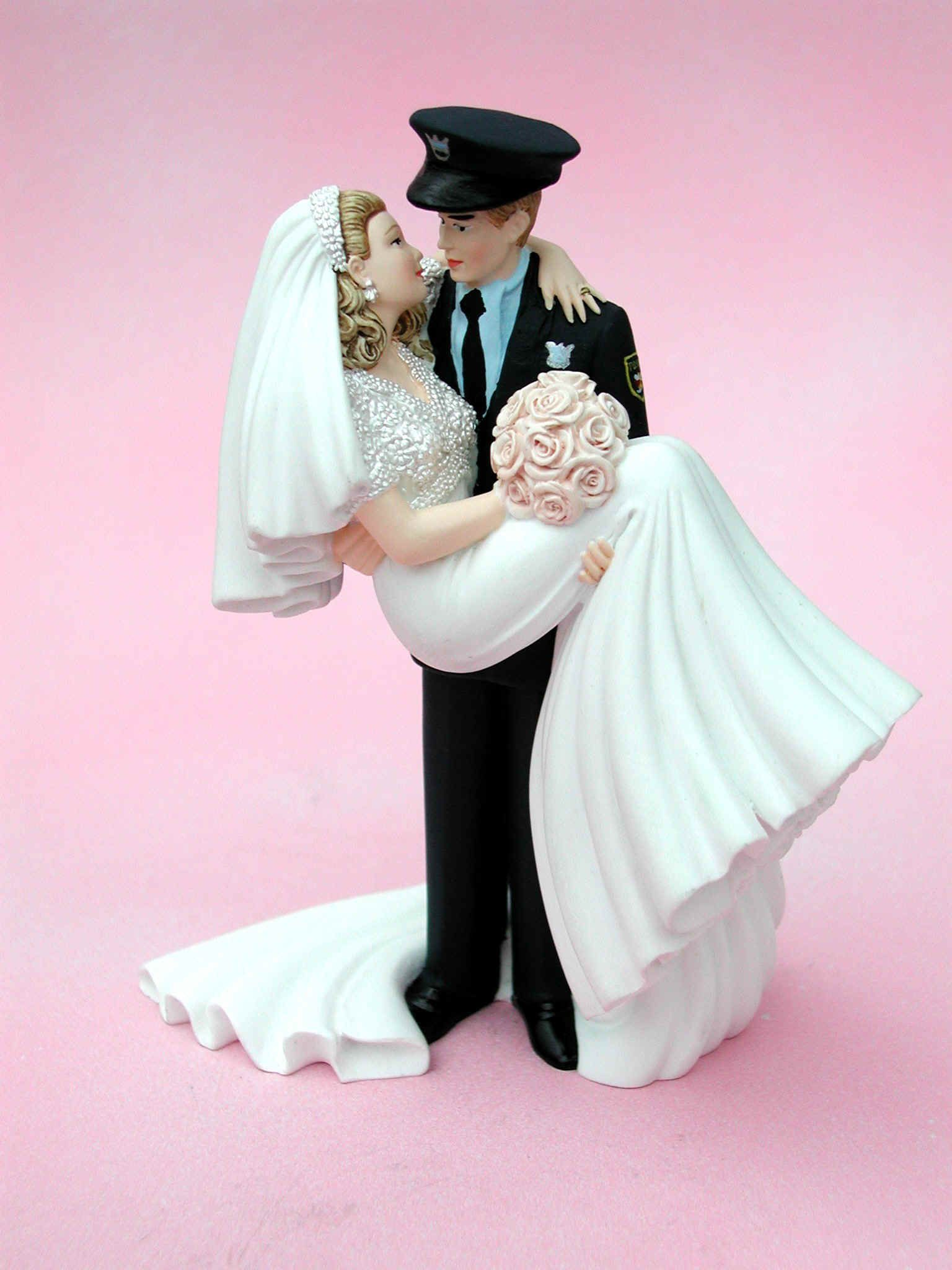 Police Groom Carrying Bride Cake Topper by Jayne Williams Wedding ...