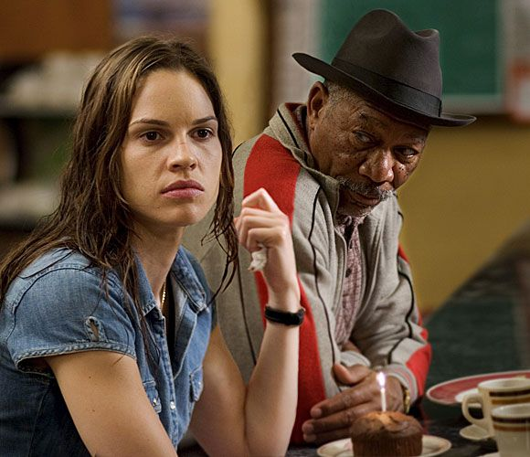 "Hilary Swank and Morgan Freeman in a scene from ""Million Dollar Baby""  Use the ar­rows be­low — or on your key­board — to learn more about each year:  http://timelines.latimes.com/academy-awards/"