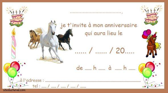 cartes invitation anniversaire cheval horse invitation. Black Bedroom Furniture Sets. Home Design Ideas