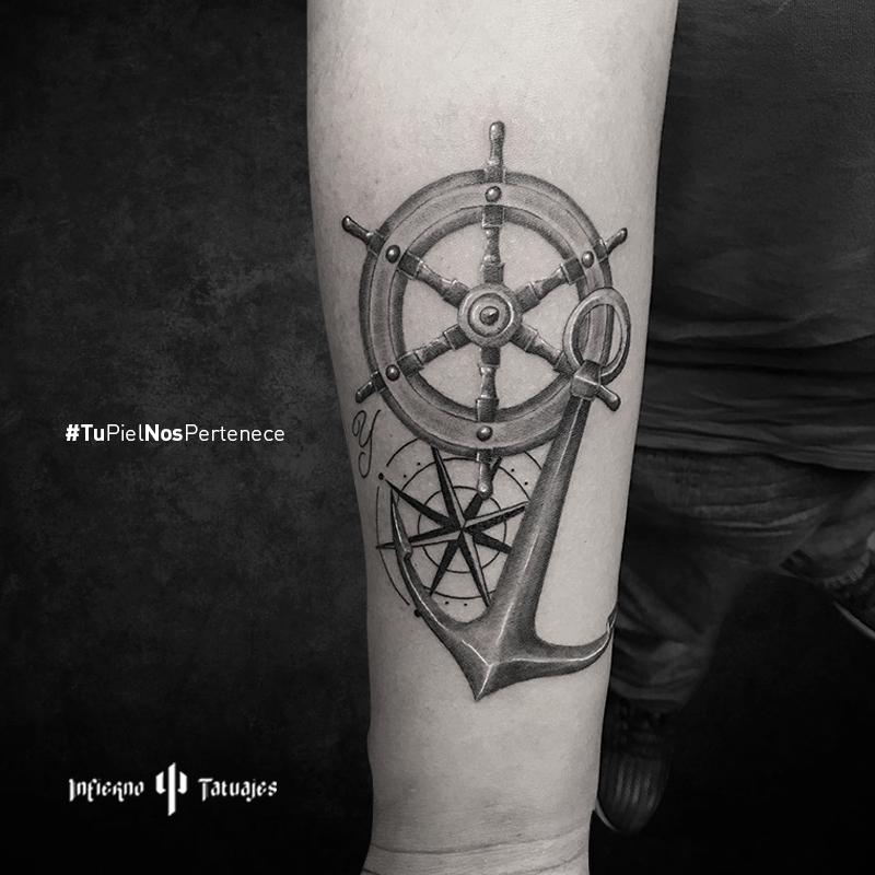 Tatuaje Timón Barco Brujula Tattoo Navy Marinero Mar Y Oceano
