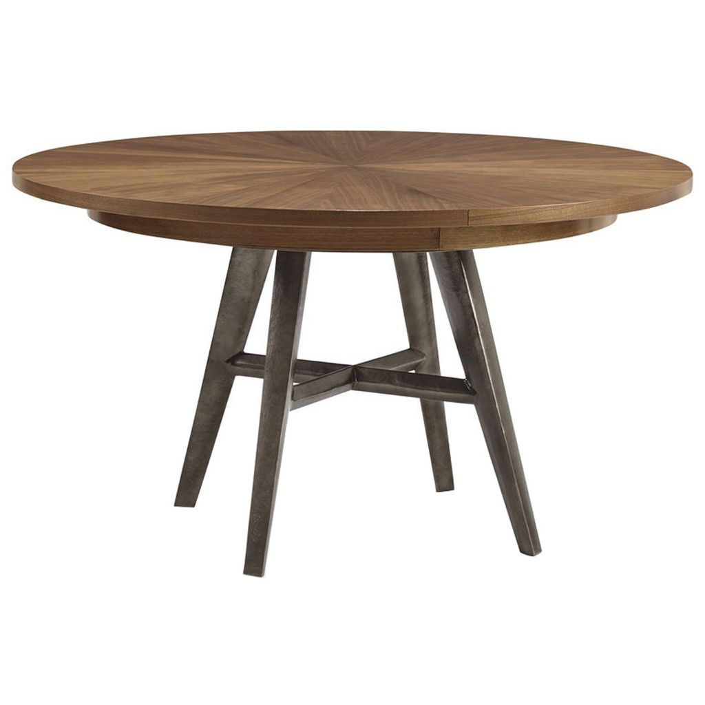 Round Timber Dining Table 54 In With One Leaf 1700 Caracole Bungalow Round Natural Walnut