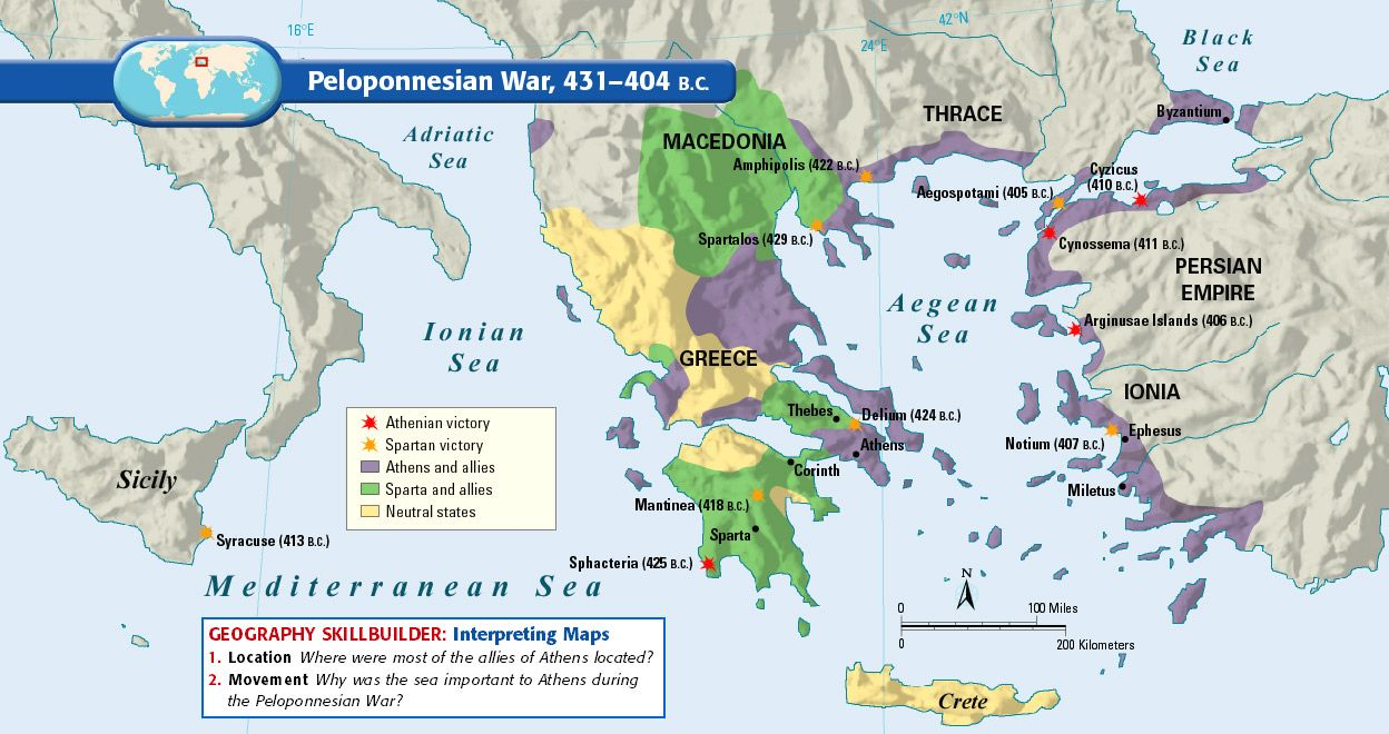 Map of the Peloponnesian War, 431 to 404 BC. Mystery of History ...