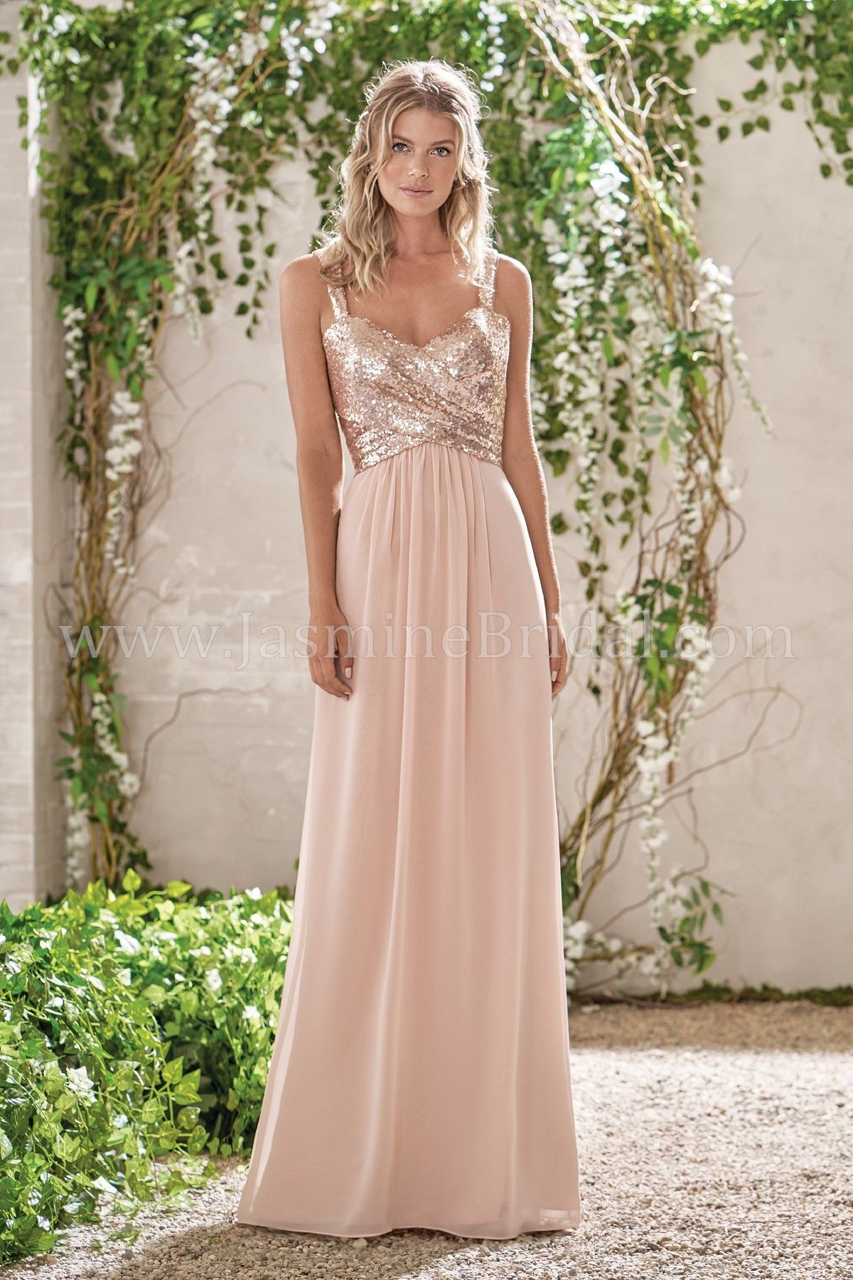 4ade104d1b1 Jasmien Bridal Long Sweetheart Neckline Sequin   Poly Chiffon Bridesmaid  Dress