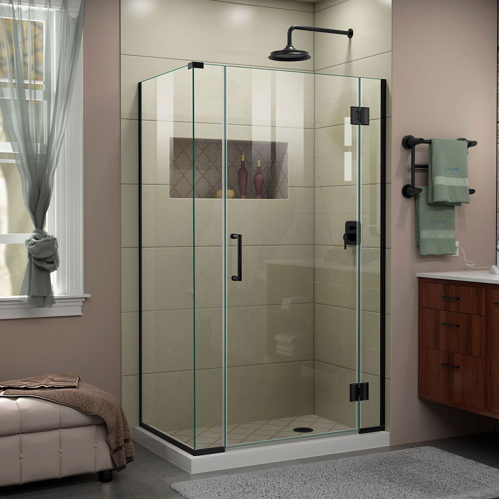 Unidoor X 40 1 2 Inch W X 34 3 8 Inch D X 72 Inch H Frameless Shower Enclosure In Satin Black Shower Enclosure Frameless Shower Frameless Shower Enclosures