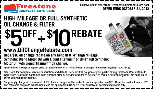 How Much Is An Oil Change At Firestone >> 5 Off 10 Online Rebate On High Mileage Or Full Synthetic Oil