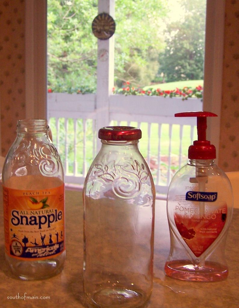 Recycled Snapple bottles make pretty soap containers
