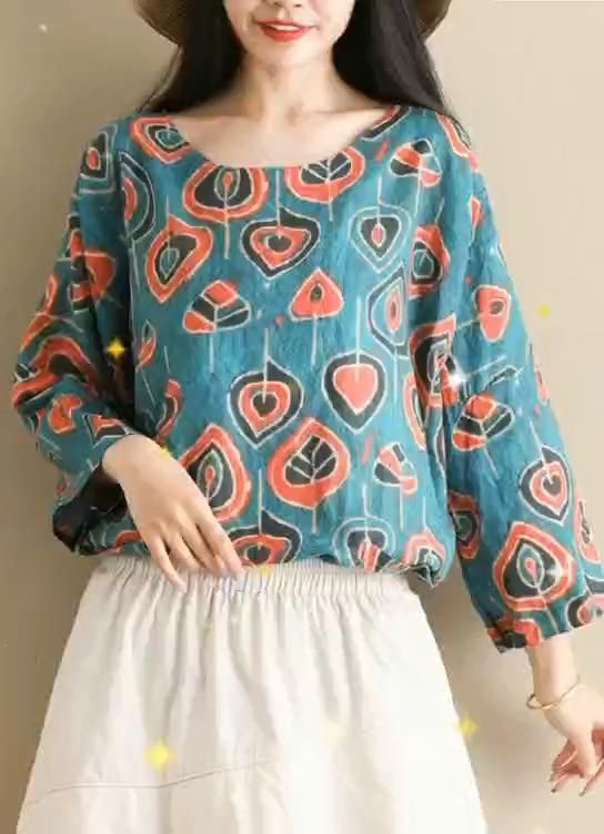 half sleeve tops women blouses Outfits blue print shirts