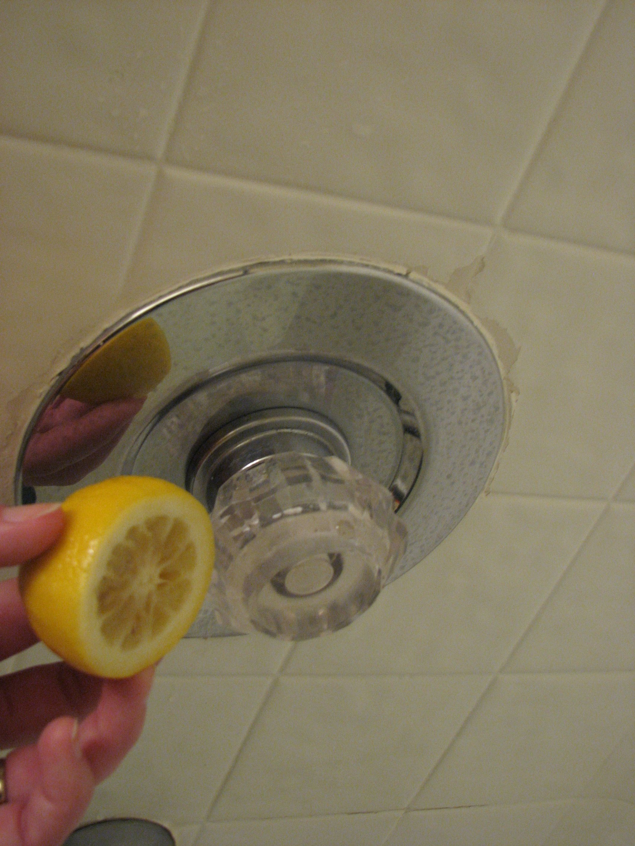 Lemon Clean FAIL! Scrubbed hard water marks with lemon and clearly ...