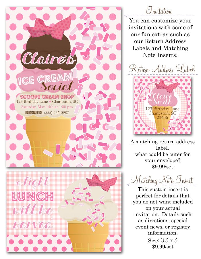 Ice Cream Party Social Invites Girl Ideas Birthday Polka Dot Box
