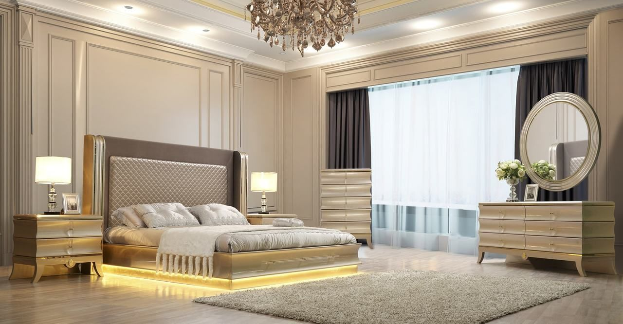 King Size HD-12 Golden Bedroom Set  savvy discount furniture