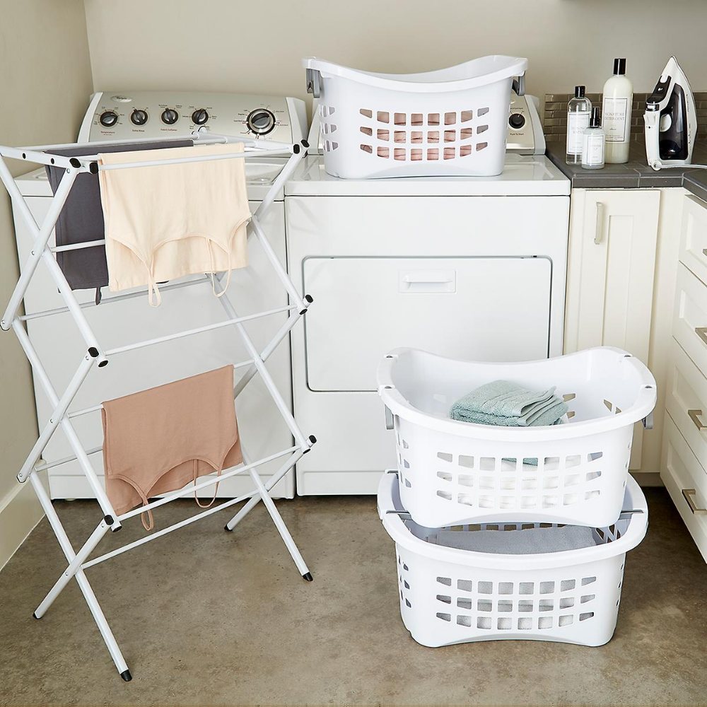 White Stackable Laundry Basket With Grey Handles Stackable Laundry Stackable Laundry Baskets Laundry Room Organization
