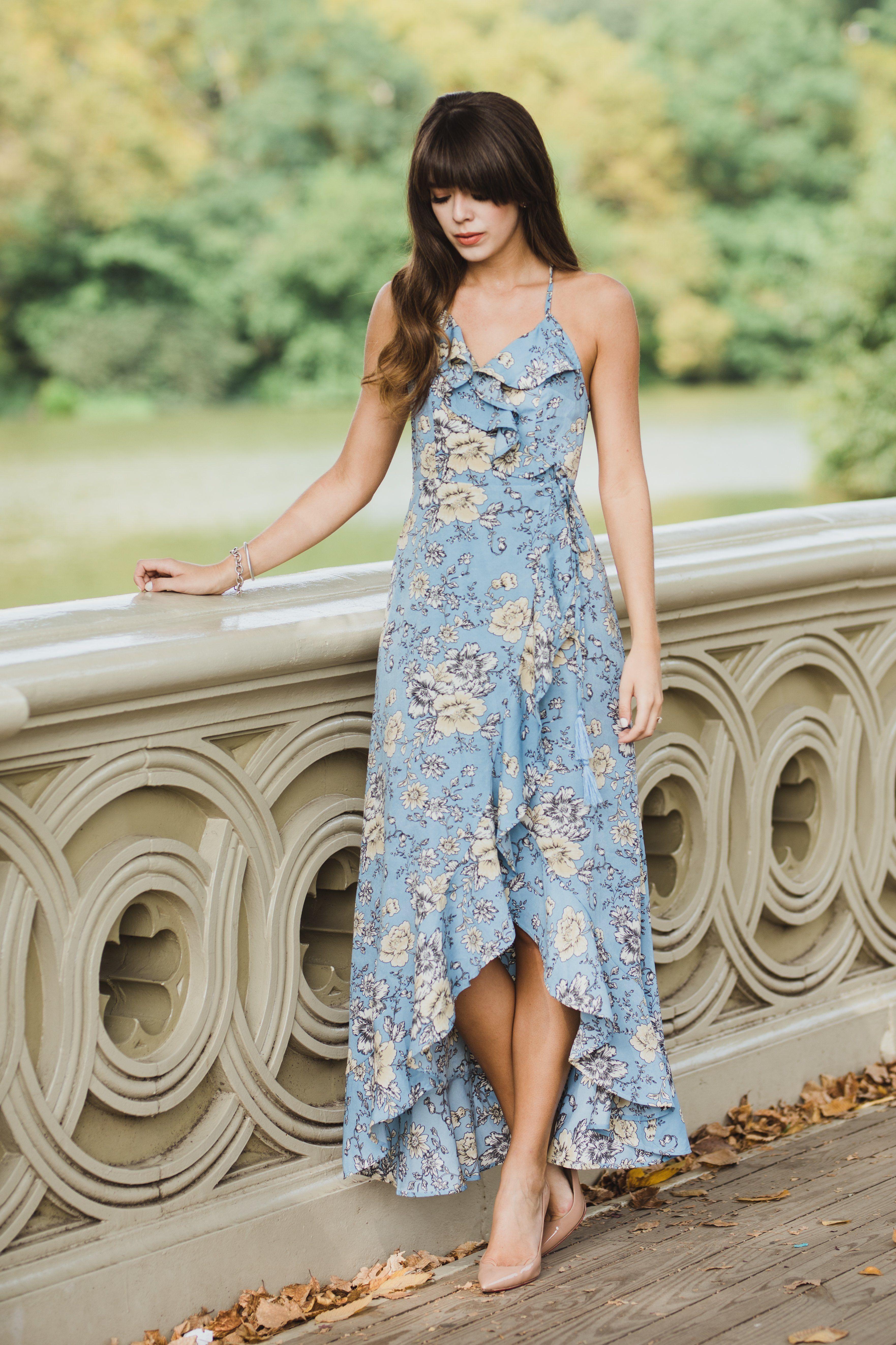 Shop Salt Flat Dress Moon River Wrap Maxi Dress Blue Floral Maxi Dress Ruffle Maxi Dress Engagement Outfit Ideas Engagm Maxi Dress Maxi Wrap Dress Dresses [ 5288 x 3525 Pixel ]